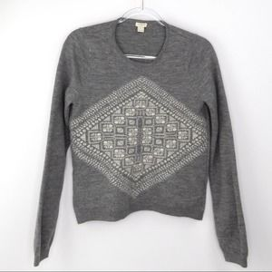 J. Crew Merino Wool Gray Pattern Sweater